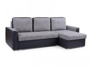 Rohová sedačka - Primo (svetlosivá + čierna) (P). Akcia -33%.