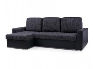 Rohová sedačka - Primo (tmavosivá + čierna) (L). Akcia -33%.