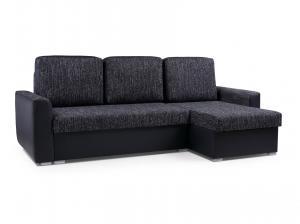 Rohová sedačka - Primo (tmavosivá + čierna) (P). Akcia -33%.