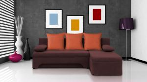 Rohová sedačka Saline hnedá + oranžové vankúše (1 úložný priestor, pena)