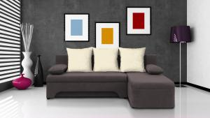 Rohová sedačka - Saline - sivohnedá + krémové vankúše - (2 úložné priestory, bonel). Akcia -32%.