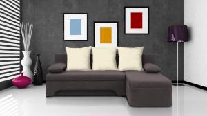 Rohová sedačka - Saline - sivohnedá + krémové vankúše - (2 úložné priestory, pena). Akcia -30%.