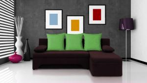 Rohová sedačka - Saline - tmavohnedá + zelené vankúše - (2 úložné priestory, pena). Akcia -30%.
