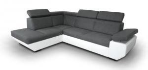 Rohová sedačka - Tempo Kondela - Akron biela + tmavosivá (L). Doprava ZDARMA. Sme autorizovaný predajca Tempo-Kondela.