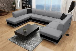 Rohová sedačka U - Darcia (sivá+ čierna) (P). Akcia -42%