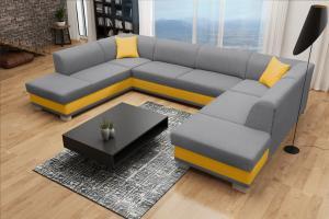 Rohová sedačka U - Darcia (sivá+ žltá) (P). Akcia -42%