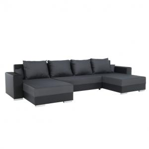 Rohová sedačka U Eutychus (čierna + sivá) (P)