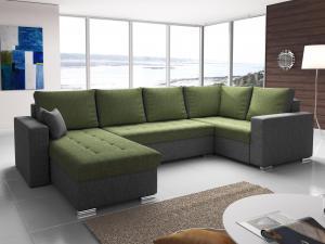 Rohová sedačka U - Lambert (zelená + sivá) (P). Akcia -31%. Doprava ZDARMA.