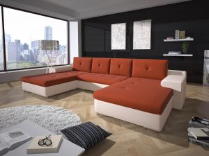 Rohová sedačka U Marlon (oranžová + biela) (P)