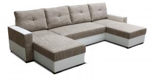 Rohová sedačka U - Po-Sed - Arenna L+2+L (s taburetkou) (béžová + biela) (L). Akcia -18% Sme autorizovaný predajca Po-Sed.