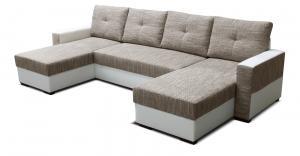 Rohová sedačka U - Po-Sed - Arenna L+2+L (s taburetkou) (béžová + biela) (P). Akcia -18% Sme autorizovaný predajca Po-Sed.
