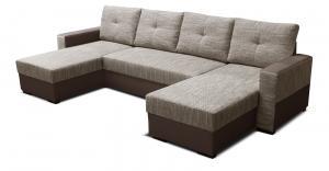 Rohová sedačka U - Po-Sed - Arenna L+2+L (s taburetkou) (béžová + hnedá) (P). Akcia -18% Sme autorizovaný predajca Po-Sed.