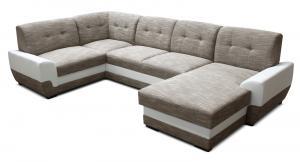 Rohová sedačka U - Po-Sed - Simona 1+A+2+L (béžová + biela) (P). Akcia -19% Sme autorizovaný predajca Po-Sed.