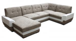 Rohová sedačka U - Po-Sed - Simona L+2+A+1 (béžová + biela) (L). Akcia -19% Sme autorizovaný predajca Po-Sed.