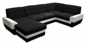 Rohová sedačka U - Po-Sed - Simona L+2+A+1 (čierna + biela) (L). Akcia -19%. Doprava ZDARMA. Sme autorizovaný predajca Po-Sed.