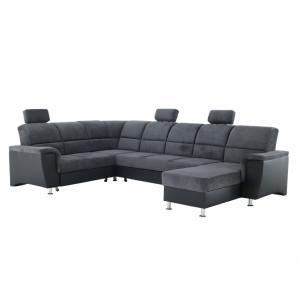 Rohová sedačka U Stan (čierna + tmavosivá) (L)