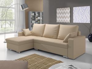 Rohová sedačka - Valmero (béžová) (L). Akcia -31%.