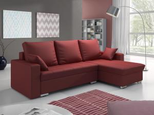 Rohová sedačka - Valmero (červená) (P). Akcia -31%.