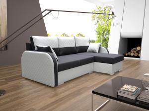 Rohová sedačka - Vilho (sivá + biela) (P). Akcia -31%