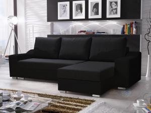 Rohová sedačka - Wisteria (čierna) (P). Akcia -31%.
