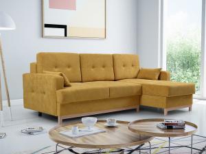 Rohová sedačka - Zaron (žltá) (P). Akcia -33%. Doprava ZDARMA.