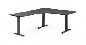Rohový stôl Modulus, T-rám, 1600x2000 mm, čierna, čierna
