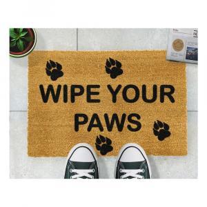 Rohožka z prírodného kokosového vlákna Artsy Doormats Wipe Your Paws, 40 x 60 cm