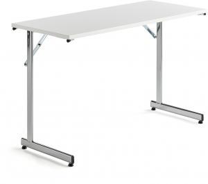 Rokovací stôl Claire, 1200x500 mm, biely laminát/chróm