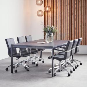 Rokovací stôl Modulus, 2400x1200 mm, 4 nohy, čierna / čierna