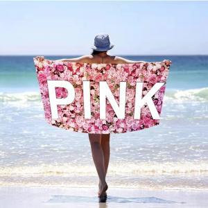 DomTextilu Romantická ružová plážová osuška s motívom ruží 100 x 180 cm 41154 Ružová