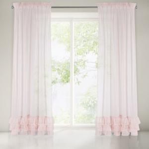 Romantická ružová záclona na riasiacu pásku s designovými volánmi