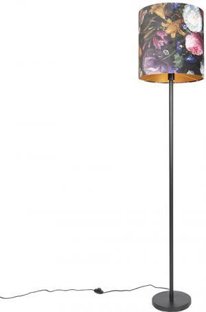 Romantická stojaca lampa čierna s kvetinovým tienidlom 40 cm - Simplo