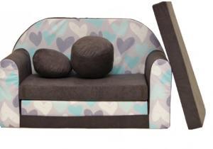 Rozkladacia detská pohovka Nellys ® A49 - Srdiečka - sivá/mätové, sivé srdiečka
