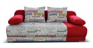 Rozkladacia pohovka VERONA červená s písmenkami