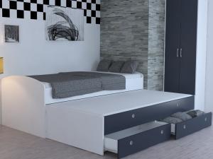 Rozkladacia posteľ Patrik Color 90x200 cm, biela/antracit