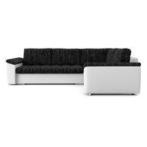 Rozkladacia rohová sedacia súprava VEGAS 245/195 Čierna/biela eko-koža Ľavá