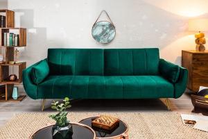 Rozkladacia sedačka Amiyah 215 cm smaragdovozelený zamat