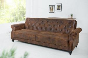 Rozkladacia sedačka Maison Belle II 220cm vintage - hnedá