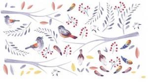 DomTextilu Roztomilá nálepka na stenu do detskej izby vtáčiky a halúzky 80 x 160 cm 46580-217450 Ružová