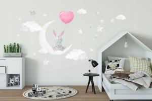 DomTextilu Roztomilá nálepka na stenu pre dievčatká zaľúbený zajačik 100 x 200 cm 46206