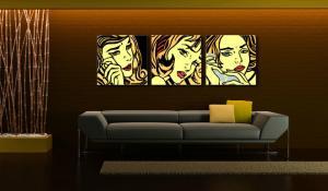 Ručne maľovaný POP Art obraz LICHTENSTEIN 3 dielny  li6