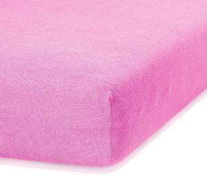 Ružová elastická plachta s vysokým podielom bavlny AmeliaHome Ruby, 200 x 140-160 cm