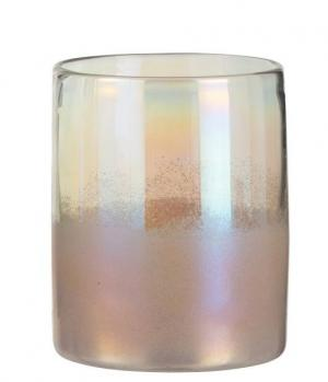 Ružová sklenená perleťová váza Pearl pink - Ø 17*21cm