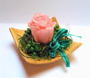 ružová stabilizovaná ruža 12 x 12x 10 cm