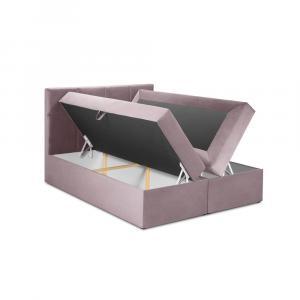 Ružová zamatová dvojlôžková posteľ Mazzini Beds Mimicry,180x200cm