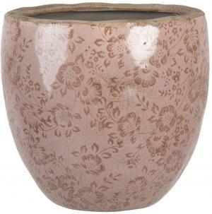 Ružový keramický kvetináč s popraskaním Alessia L - Ø 20 * 19 cm