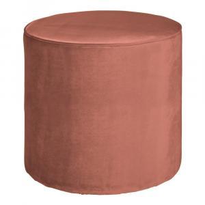 Ružový zamatový puf WOOOD Sara, ⌀ 46 cm