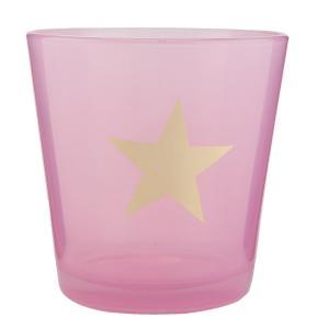 Růžový svietnik na čajovú sviečku s hviezdou - Ø 10 * 10 cm