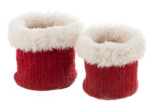 Sada 2 bielo-červených chlpatých obalov na kvetináče Plush pots - Ø 27 * 25 cm