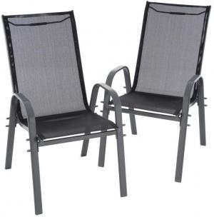 Sada 2 ks záhradných stohovateľných stoličiek - čierna